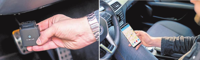 Für das elektronische Fahrtenbuch mit Vimcar muss der Stecker lediglich in die OBD-Schnittstelle des Pkw gesteckt werden. Nach der Anmeldung via Handy läuft alles automatisch. Fotos: © Vimcar