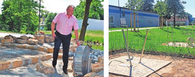 Bürgermeister Stefan Busch dreht am Wasserrad des Erlebnisbereiches. Foto: Sandra Langer / Am Radweg in Richtung Schauenstein entstanden Trimm-Dich-Geräte für Senioren.