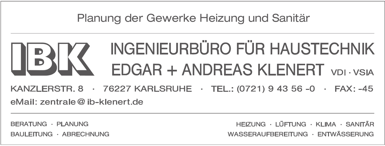 IBK Ingenieurbüro für Haustechnik Edgar + Andreas Klenert