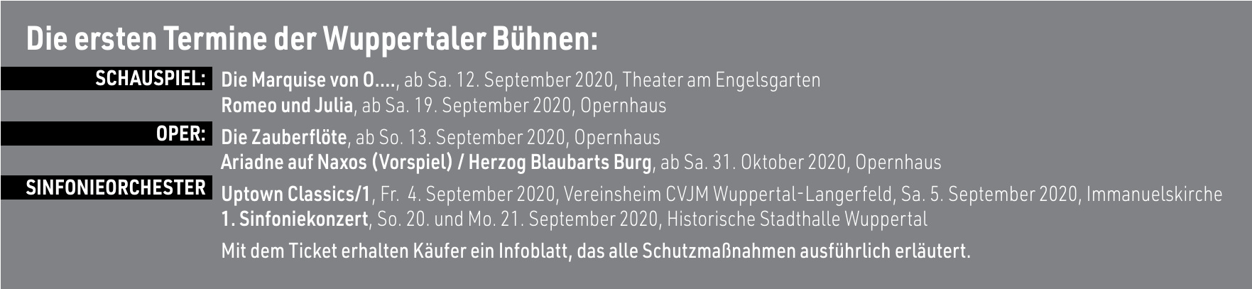 Die ersten Termine der Wuppertaler Bühnen