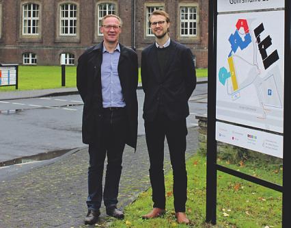 Udo Krause (l.) ist Leiter der städtischen Projektgruppe für das Areal, Jonas Geist bei der Stadt verantwortlich für die Immobilien Bild: Stadt Bergisch Gladbach
