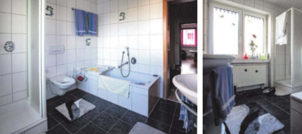 Vor dem Umbau: Enge Toilette, ungenutzte Badewanne, Dusche mit hohem Einstieg.