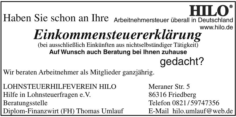 Lohnsteuerhilfeverein  HILO Hilfe in Lohnsteuerfragen e.V.