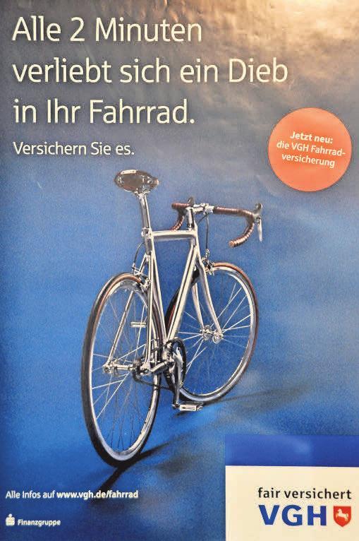 Mit diesem Plakat wirbt die VGH aktuell für eine Fahrrad-Versicherung.