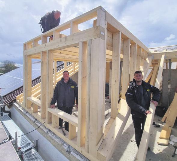 Spezialisten beim Bau einer Dachgaube.