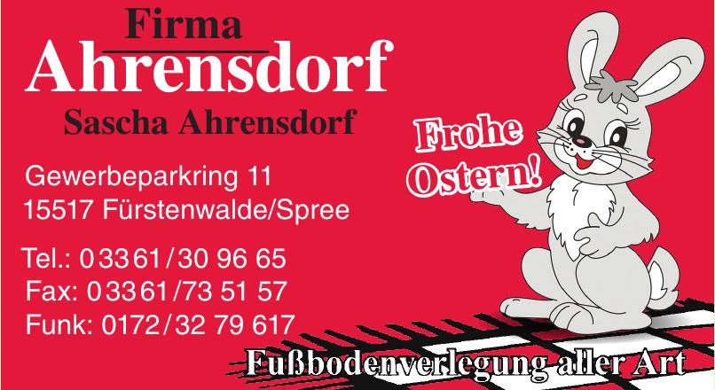 Firma Ahrensdorf - Sascha Ahrensdorf