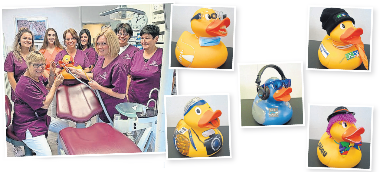 Das Team von Dr. Uta Böttcher (Grinsekatz) beweist Humor bei der Gestaltung ihrer Ente.