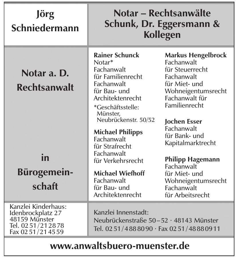 Schunck, Dr. Eggersmann & Kollegen - Notare, Rechtsanwälte, Fachanwälte