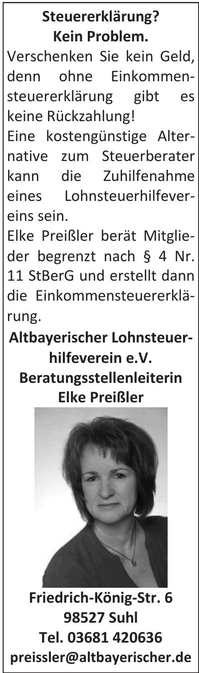 Altbayerischer Lohnsteuerhilfeverein e.V. Beratungsstellenleiterin Elke Preißler