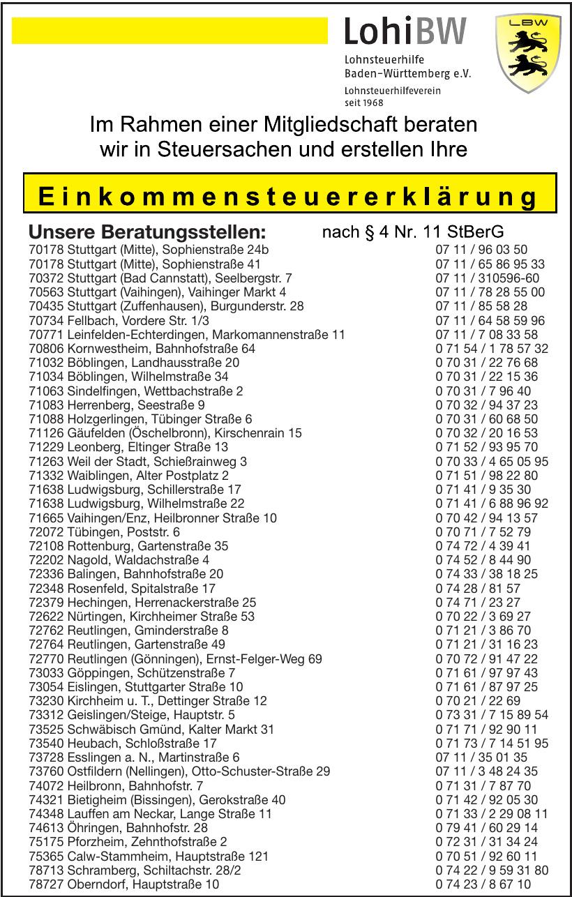 Lohnsteuerhilfe Baden-Württemberg e. V.