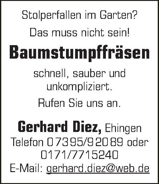 Baumstumpffräsen Gerhard Diez, Ehingen
