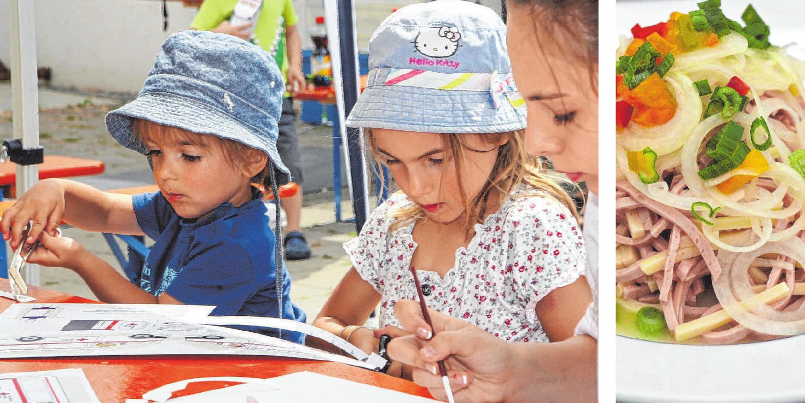 Auch eine Kinderbetreuung mit Bastelecke im Zelt und Hüpfburg gibt es am Sonntag. Wurstsalat am Montagabend.