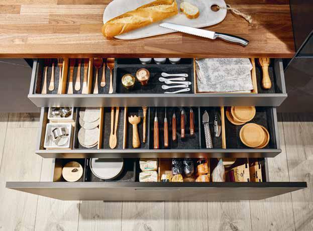Die Schubladensysteme von next125 bieten genug Stauraum für alle Küchenhelfer. Foto: next125