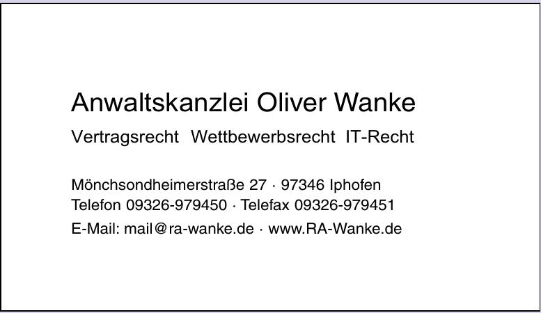 Anwaltskanzlei Oliver Wanke