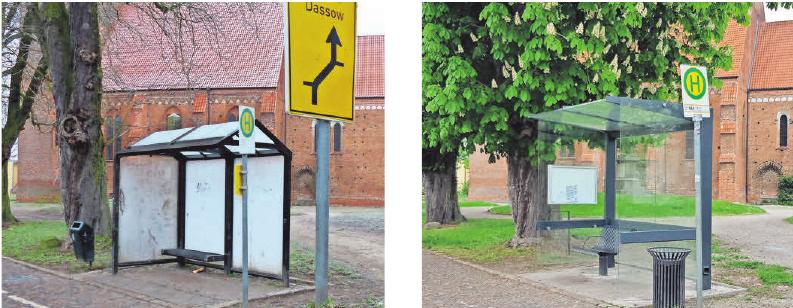 Die alte und die neue Bushaltestelle an der Klützer Kirche.