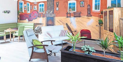 Atmosphäre zum Wohlfühlen: Der 100 Quadratmeter große Tagesraum lädt die Gäste zum geselligen Miteinander ein.