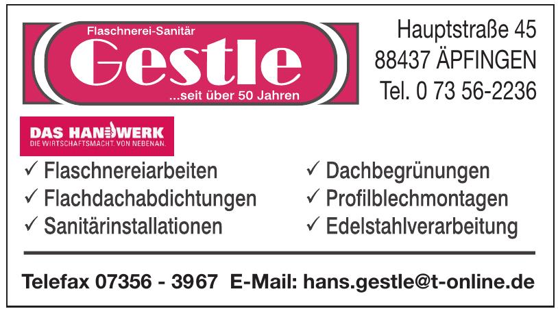 Flaschnerei-Sanitär Gestle