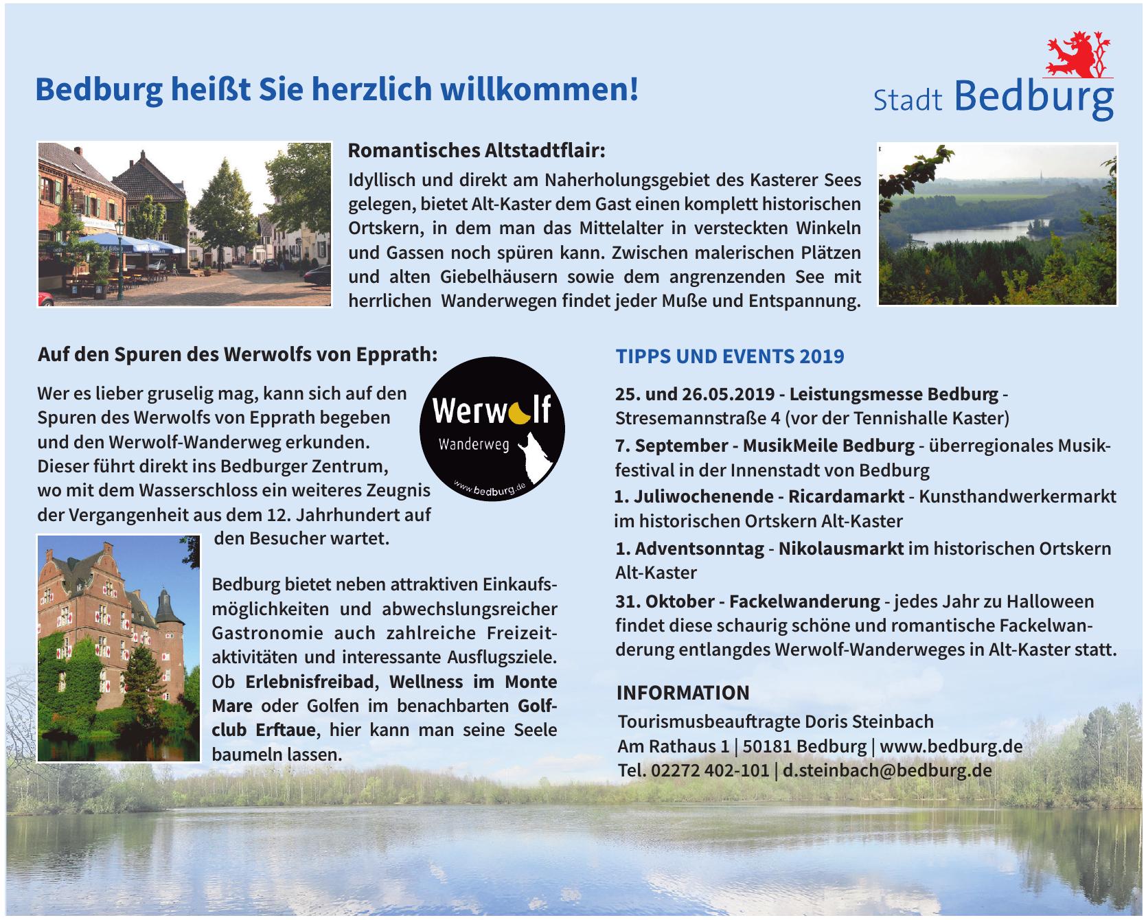 Stadt Bedburg - Tourismusbeafragte Doris Steinbach