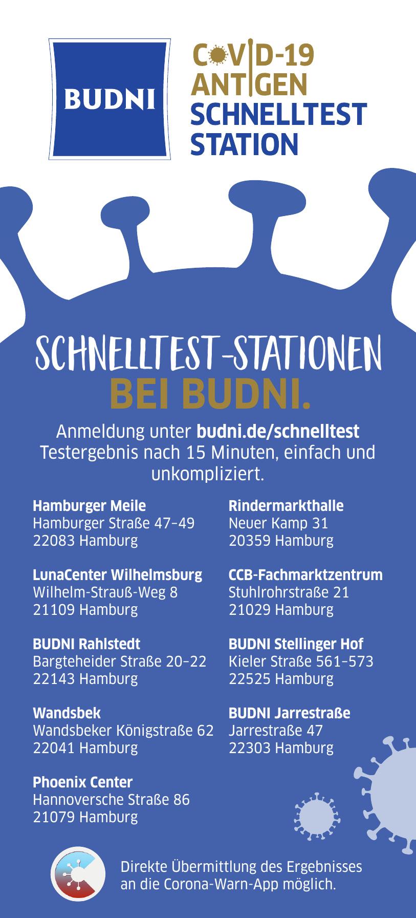 Schnelltest-Stationen bei Budni