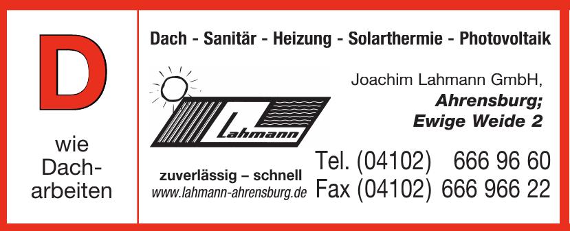 Joachim Lahmann GmbH Dach - Sanitär - Heizung