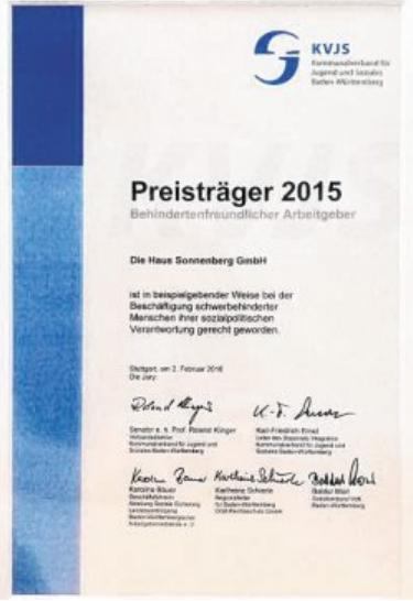 Auszeichnung: Behindertenfreundlicher Arbeitgeber 2015. BILD: HAUS AM SONNENBERG/SASCHA BICKEL