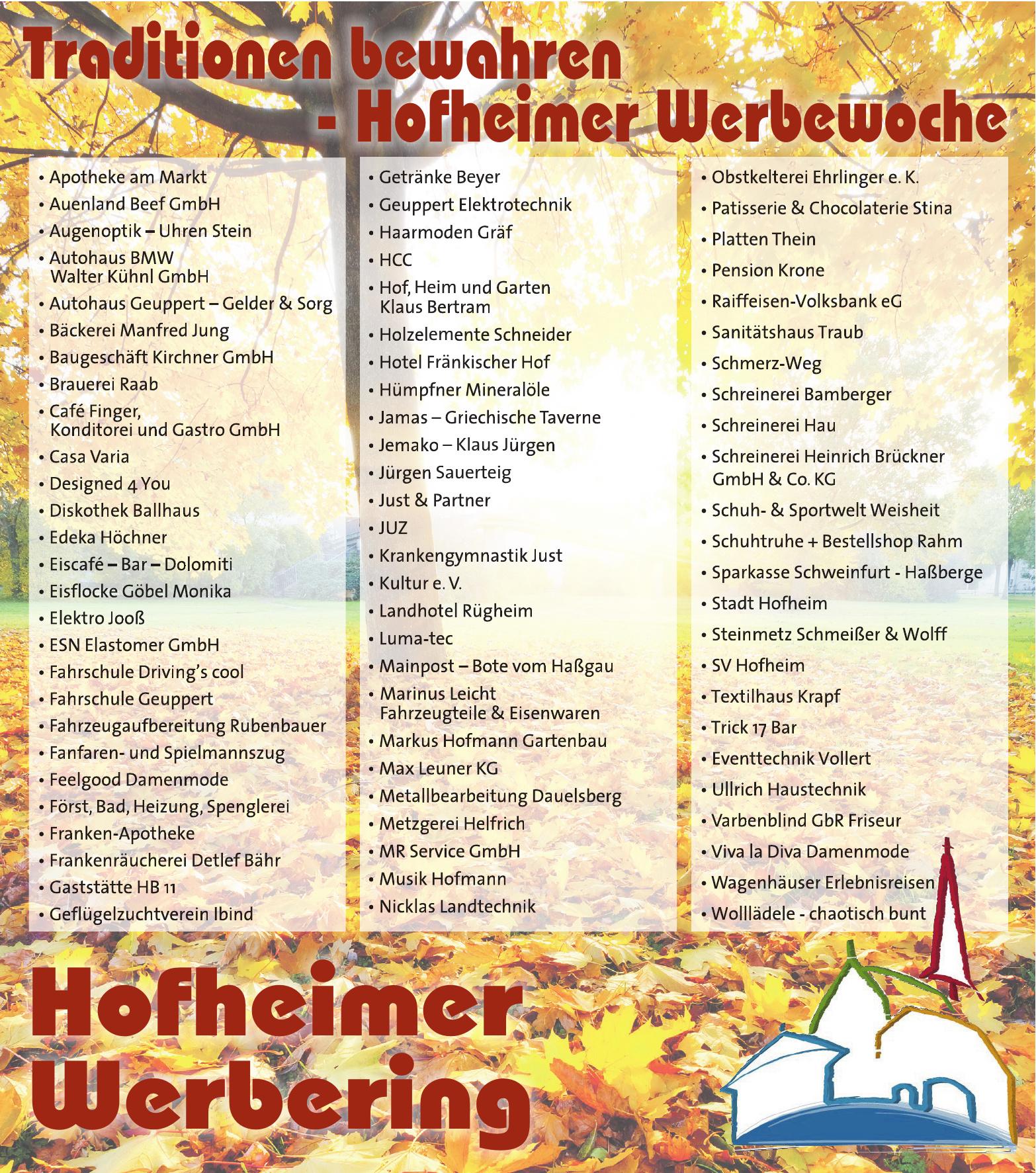 Traditionen bewahren - Hofheimer Werbewoche
