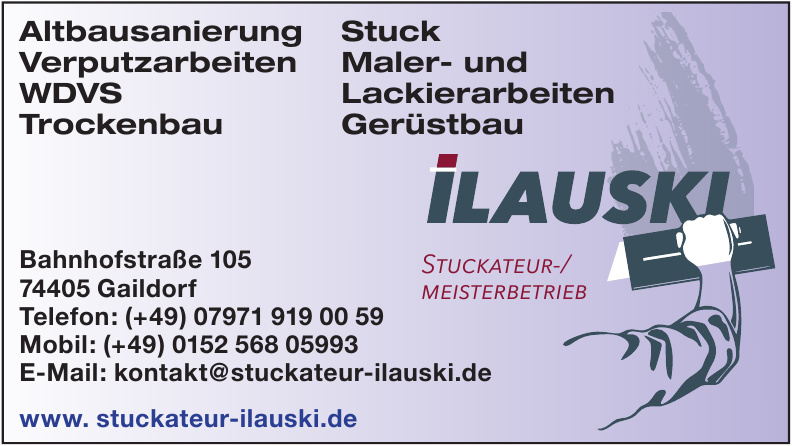 Ilauski Stuckateur-/Meisterbetrieb