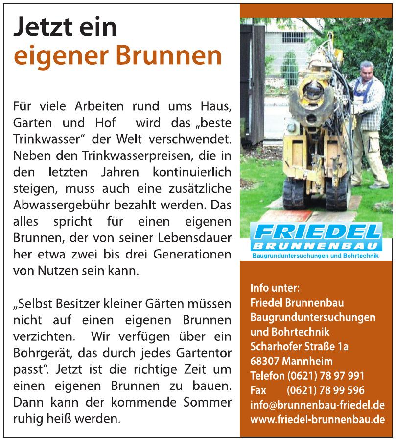 Friedel Brunnenbau Baugrunduntersuchungen und Bohrtechnik