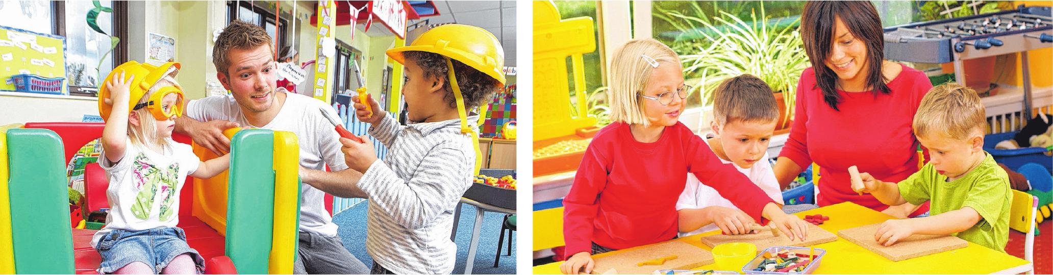 In den ecolea-Schulen werden die Schüler praxisnah auf ihren Berufsalltag vorbereitet. Die Ausbildung zum Erzieher beinhaltet unter anderem Theorieunterricht in den Fächern Mathe, Deutsch, Englisch und Sozialkunde sowie auch verschiedenen Praktika und zusätzliche Möglichkeiten wie Rollstuhltraining. FOTOS: ECOLEA, STOCK.ADOBE.COM