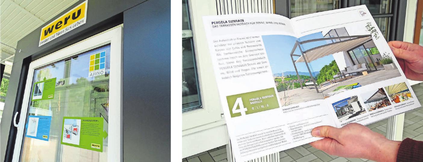 In Bordenau sind mehrere qualitativ hochwertige Fenster und Türen ausgestellt. Das Modell Pergola Sunrain (Katalog) bietet Schutz vor Sonne, Wind und Regen.