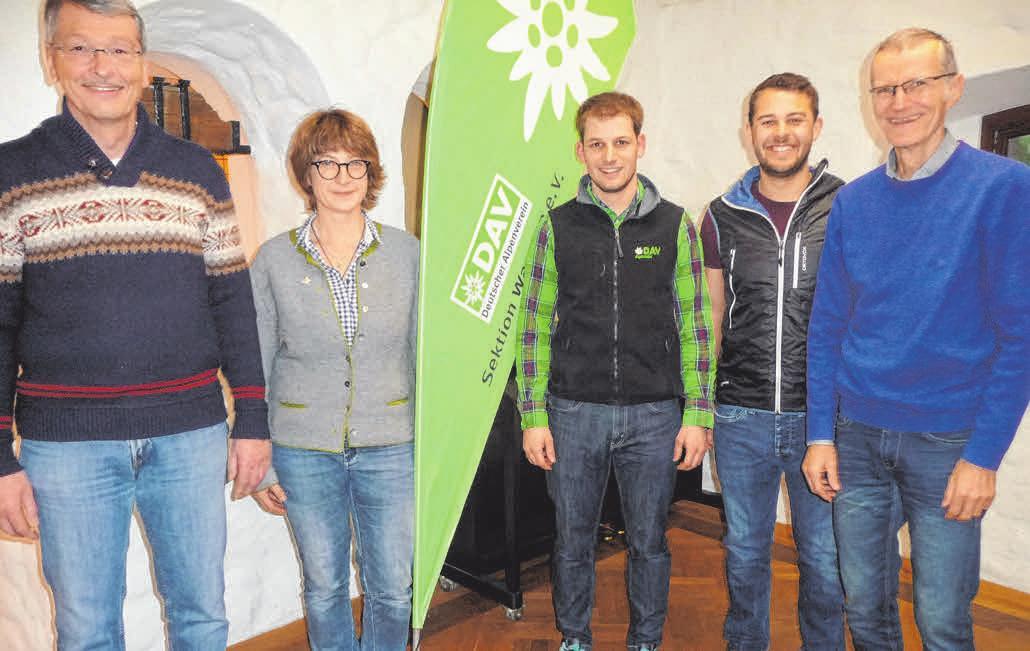 Die DAV-Vorsitzenden der Sektion Wangen (von links): Jörg Maurus, Christine Pohensky, Jürgen Woidschützke, Benedikt Sigg und Rainer Willibald. FOTOS: VERA STILLER/DAV/PRIVAT
