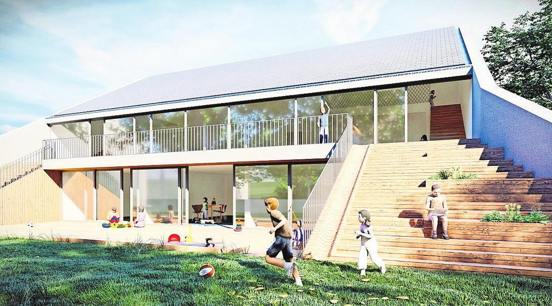 Der Neubau besticht durch eine großzügige Freitreppe. Alle Gruppenräume sind durch große Fensterfronten zum Garten hin geöffnet. Visualisierung: larob-Architekten