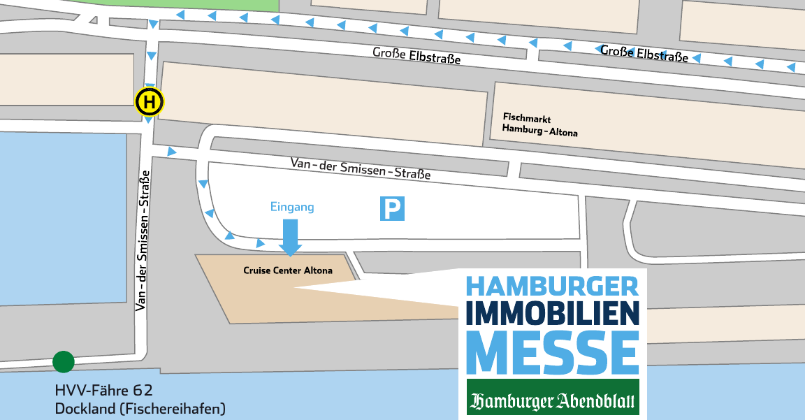 """Anreise mit dem PKW: Anfahrt über Große Elbstraße, der Ausschilderung """"Cruise Center Altona"""" folgen. Parkplätze sind vorhanden. Anfahrt mit dem ÖPNV: Bus (Linie 111): Haltestelle """"Kreuzfahrtterminal Altona"""". HVV-Fähre (Linie 62): Haltestelle """"Dockland"""". Das Cruise Center Altona befindet sich direkt neben dem Fähranleger."""