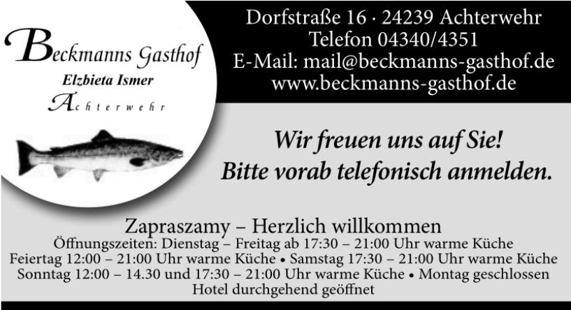 Beckmanns Gasthof Elzbieta Ismer Achterwehr