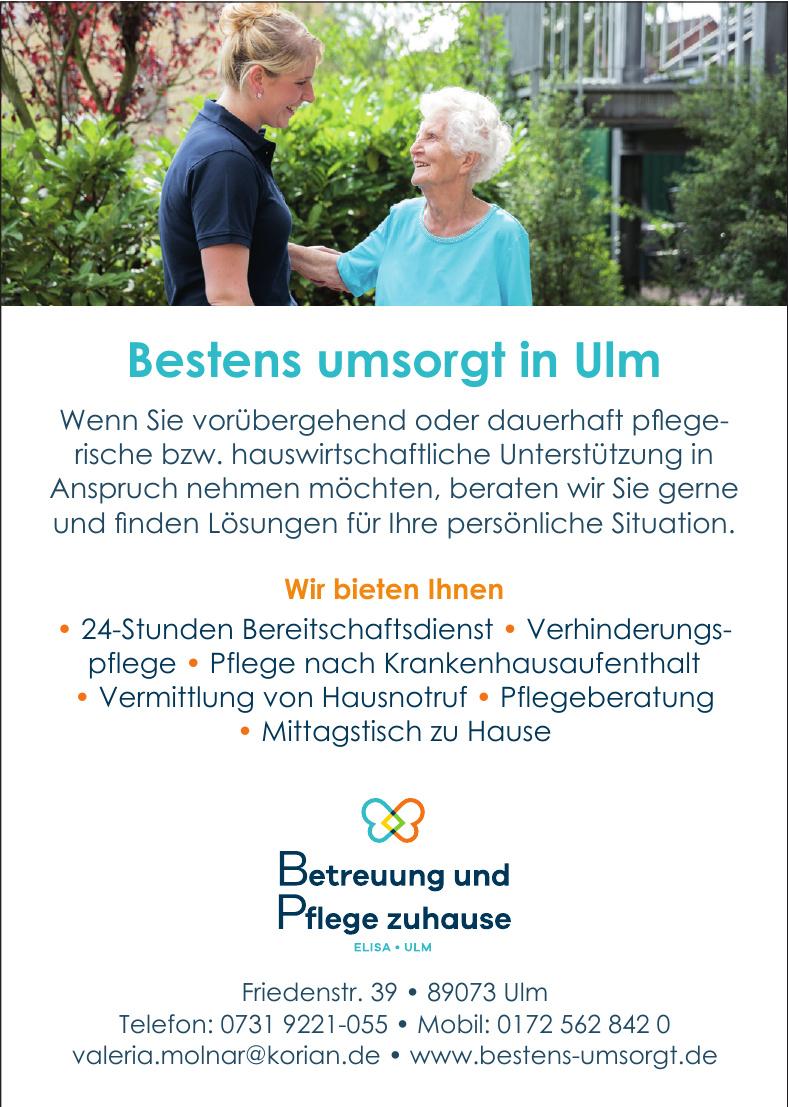 Betreeung und Pflege zuhase Elisa - Ulm