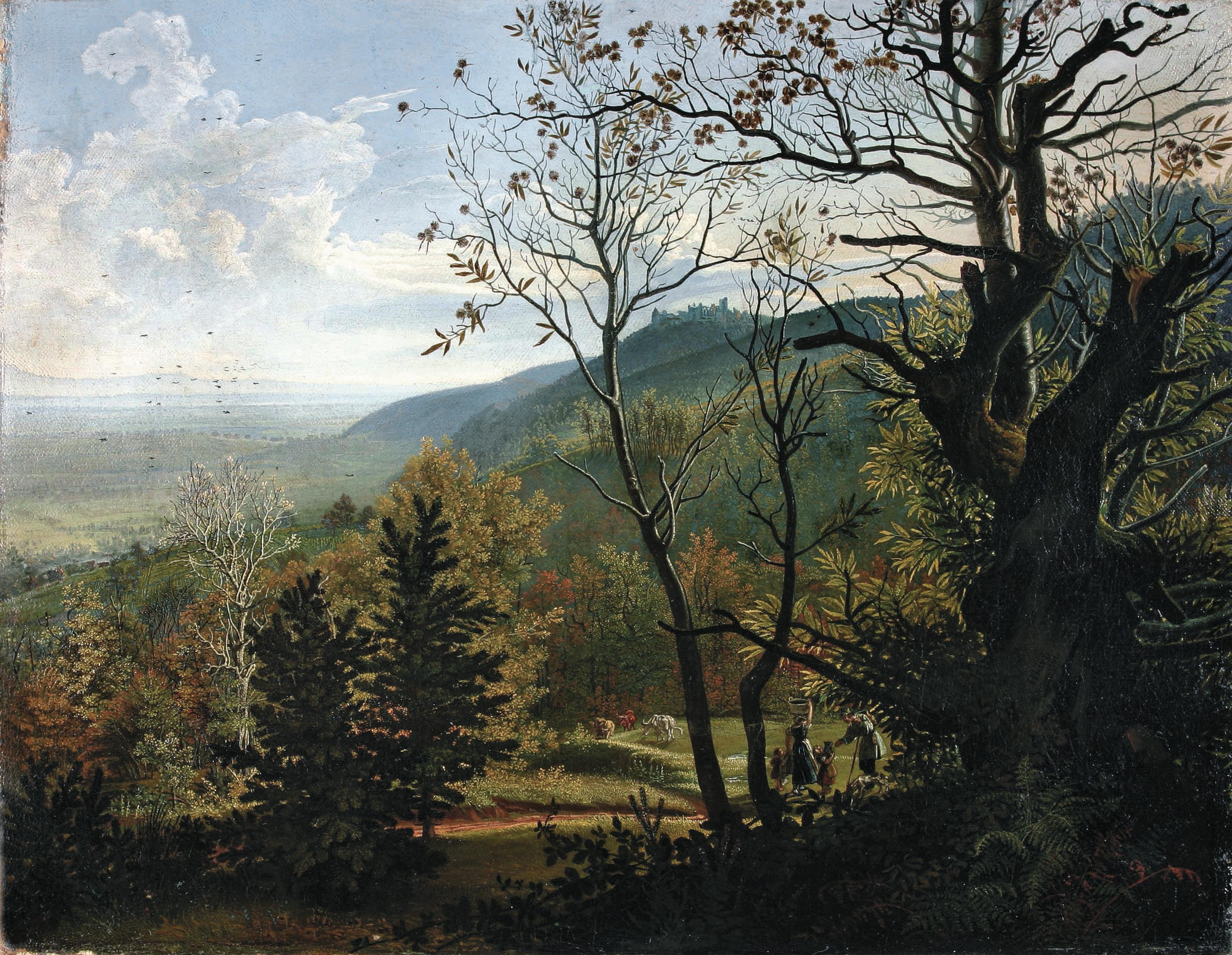 """Waldlandschaft: Frieds """"Blick auf die Madenburg"""" hängt in der Pfalzgalerie. Foto: mpk/frei"""