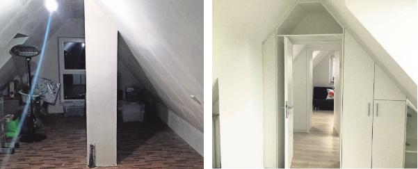 Vorher (Bild links) und nachher: Mit der Firma Helmrich wird aus einem dunklen Abstellraum ein gemütlicher, heller Wohnbereich.