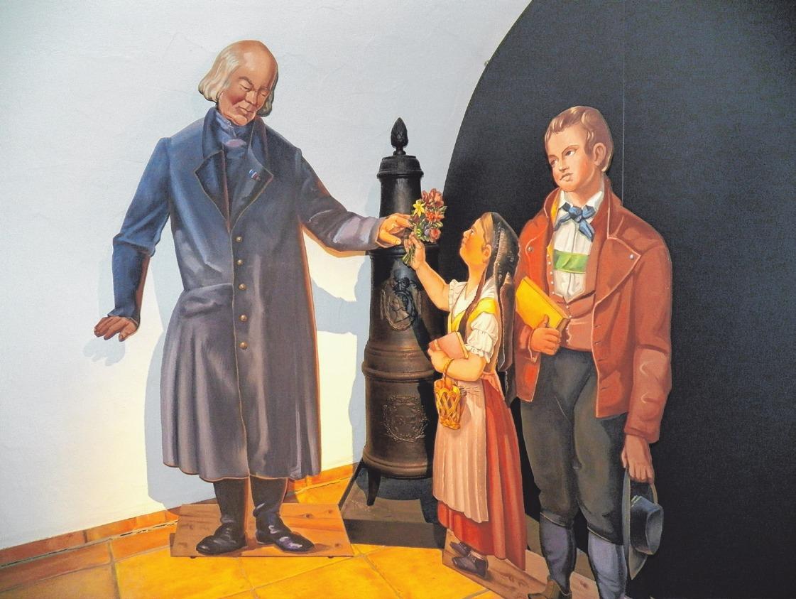 So wird Christoph von Schmid in der Gedenkstätte dargestellt.