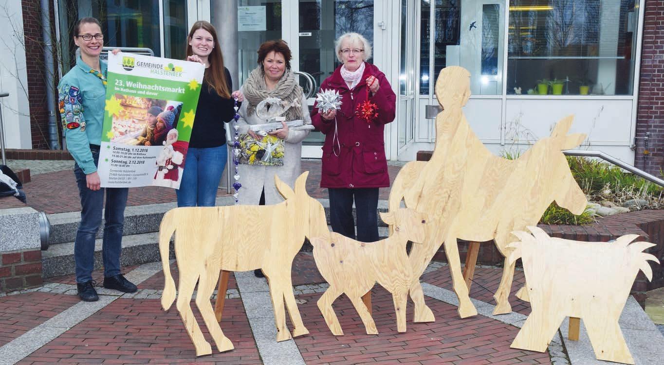 Anna-Lena Krijan (v. l.), Madlen Biermann, Angie Sellmann und Edith Lindenberg freuen sich auf den Halstenbeker Weihnachtsmarkt Foto: Klein