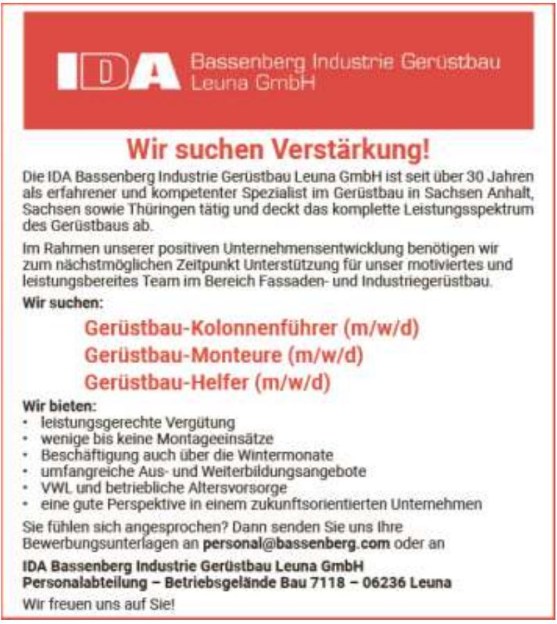 IDA Bassenberg Industrie Gerüstbau Leuna GmbH