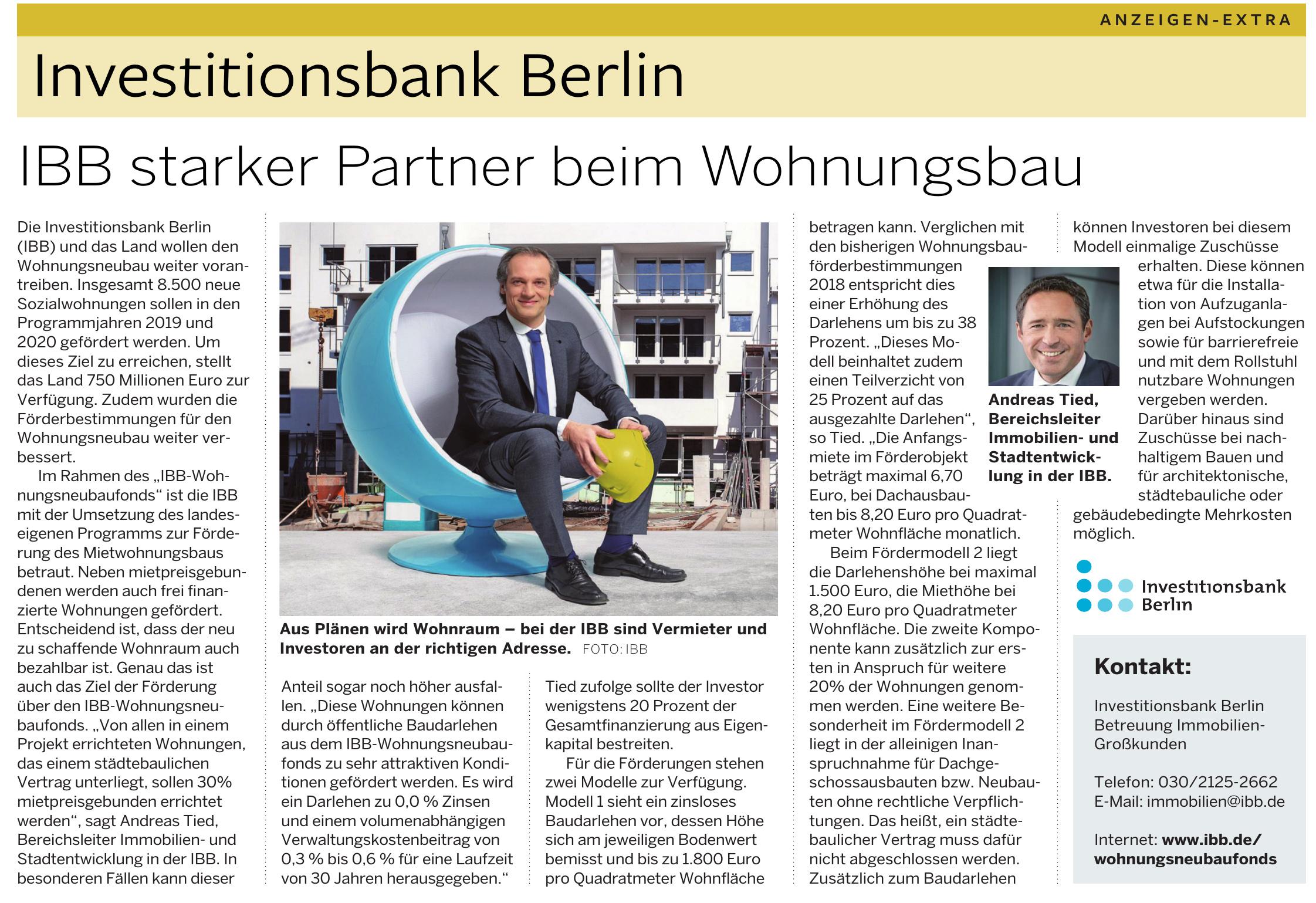 Investitionsbank Berlin Betreuung Immobilien-Großkunden