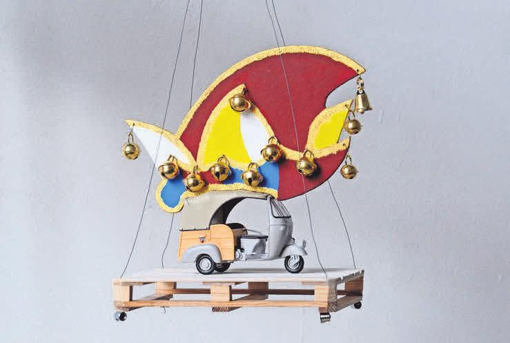 Götz Bergmann spielt in seinen Objekten mit Gefundenem und Selbstgebautem. Foto: r