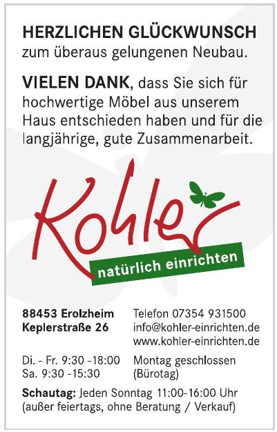 Kohler - natürlich einrichten GmbH & Co. KG