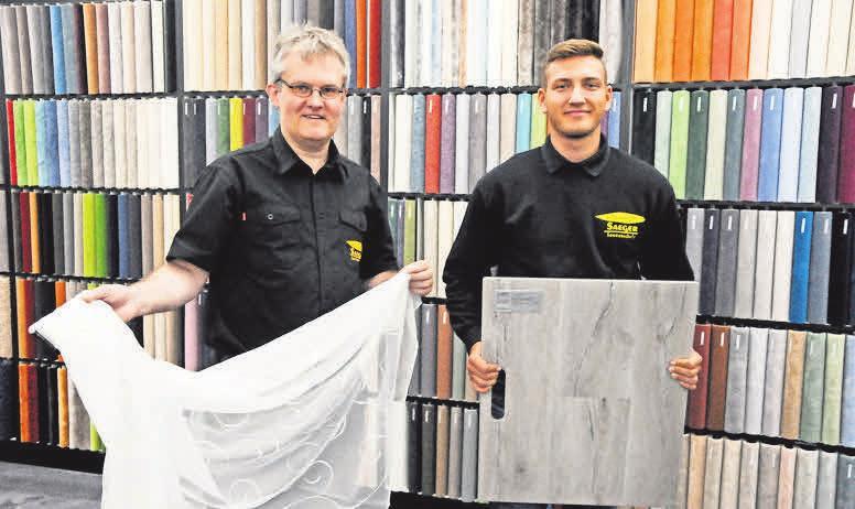 Ein eingespieltes Team: Klaus Weber und Mel Redeker vom Fußboden- studio Saeger.