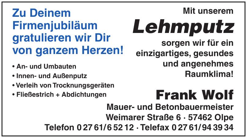 Frank Wolf Innen- und Außenputz