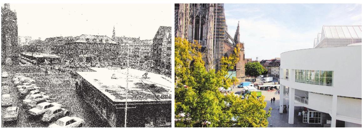 Der Münsterplatz gehört heute dem Wochenmarkt oder einfach Menschen, die bummeln. Früher hingegen war er ein Parkplatz.