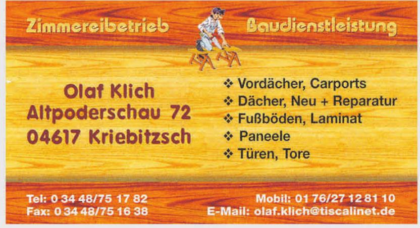 Olaf Klich Zimmereibetrieb, Baudienstleistung