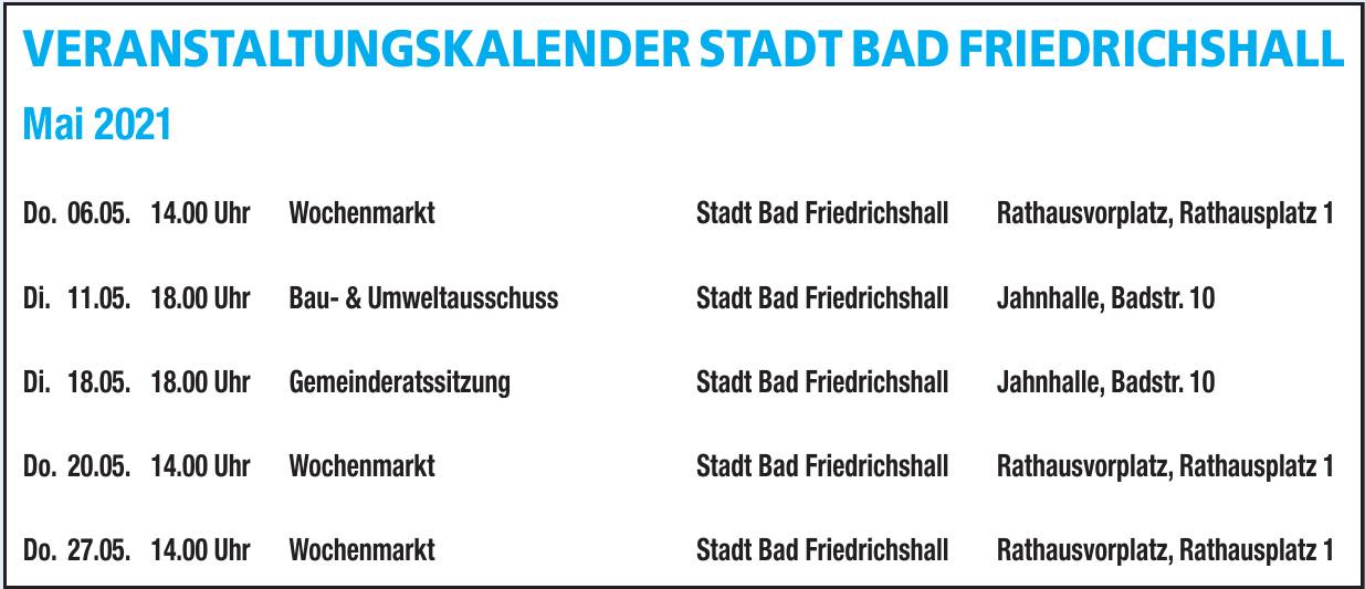Veranstaltungskalender Stadt Bad Friedrichshall