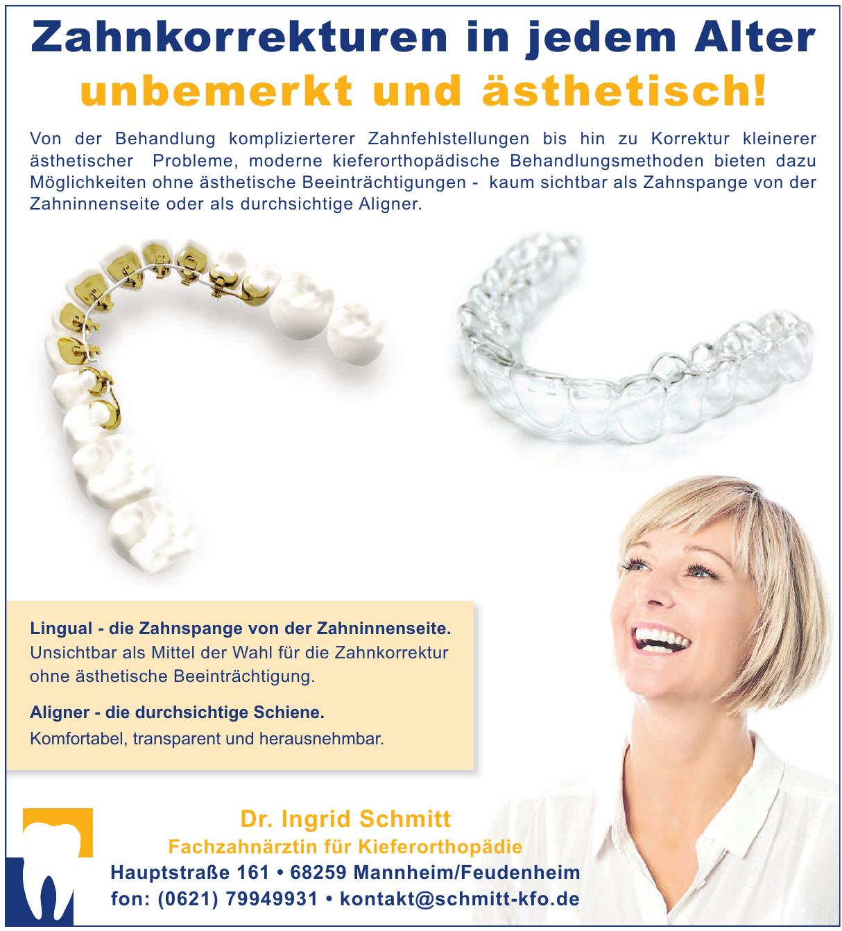 Dr. Ingrid Schmitt Fachzahnärztin für Kieferorthopädie