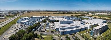 Der 240 000 m2 große Firmensitz der Schüco Polymer Technologies KG in Weißenfels, OT Borau.